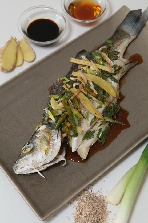 sea bass steamed